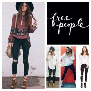 Free People Destroyed Cropped Skinny Jeans